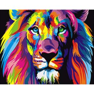 Colorful Lions DIY Easy Painting on Canvas Kit for Beginners Kids