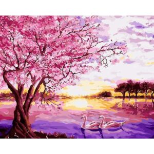 Cherry Blossom Tree by Lake - Paint by Numbers Lake Scene