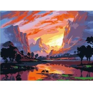 Canyon Lake Sunset - Paint by Numbers Mountain Scene