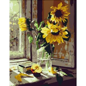 Sunflowers in Vase on Window - Painting by Numbers Sunflowers