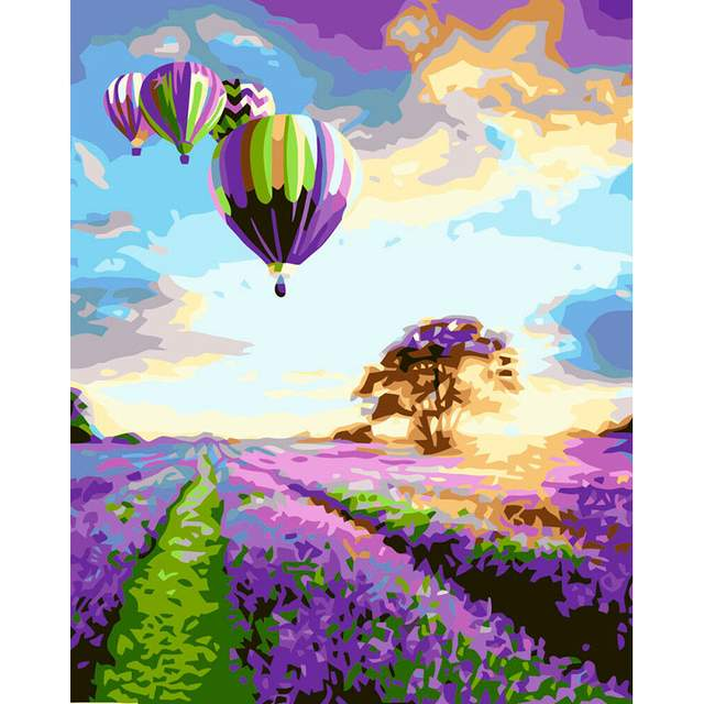 Hot Air Balloons Flight Over a Lavender Field - Paint by Numbers DIY