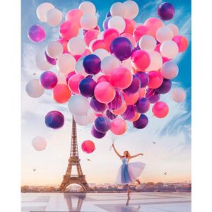 Young Woman with Balloons near the Eiffel Tower in Paris - Paint by Number Woman