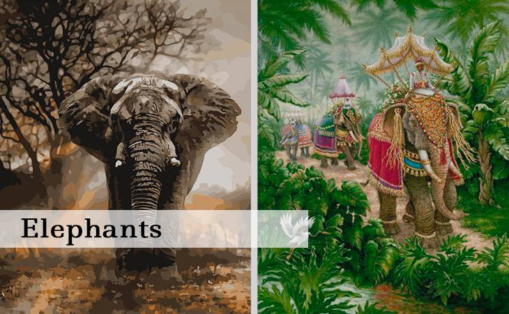 DIY Elephants Paint by Numbers