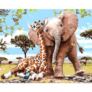 Faithful Friends Elephant Giraffe DIY Painting By Numbers Kits for Adults