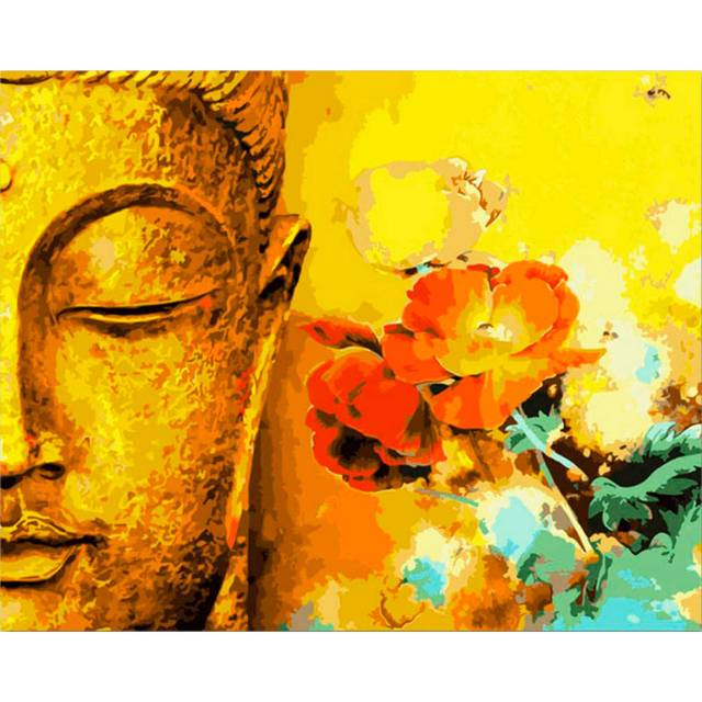 The Half of Buddha Painting on Canvas kit for Adults