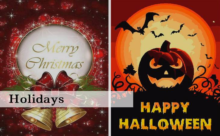 Holidays Christmas and Halloween in Paint by Numbers