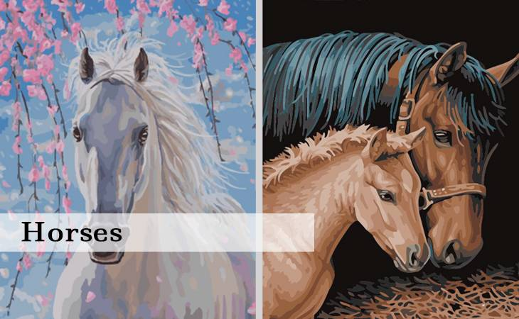 Horses Paint by Numbers for Adults