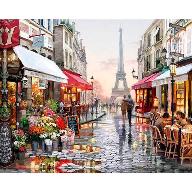 Paris After Rain DIY Painting By Numbers Kits for Adults