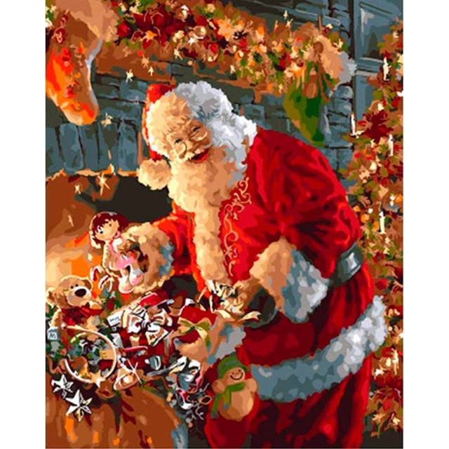 Santa Claus with Christmas gifts DIY Paint By Numbers Kit