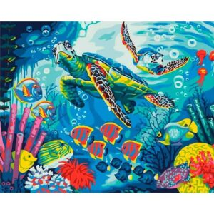Sea Turtle and Fish DIY Paint by Numbers