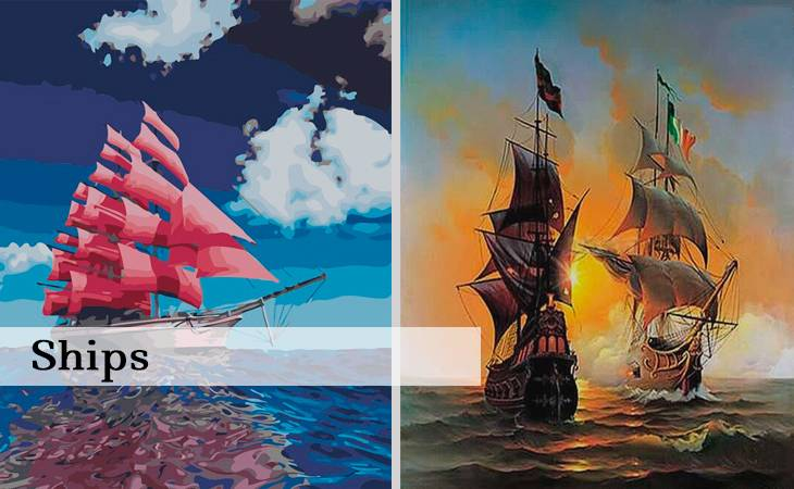 Ships Paint by Numbers
