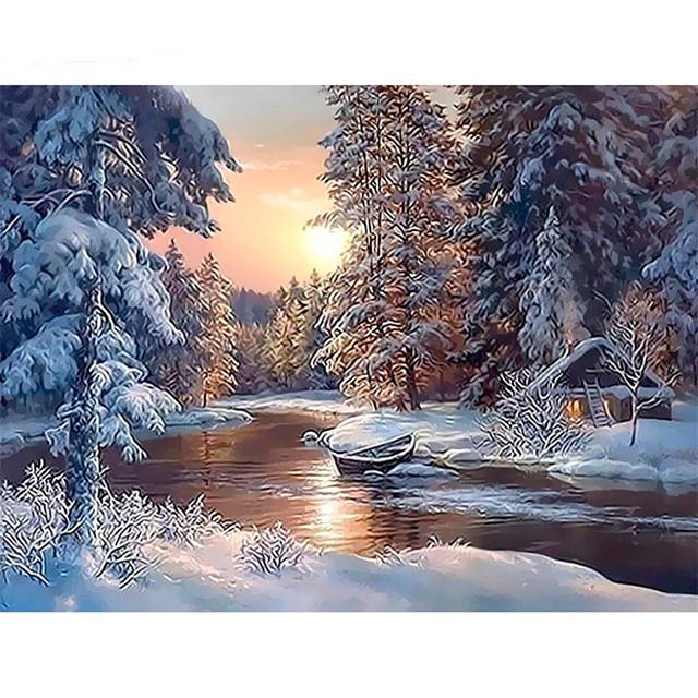 Snow Forest Painting By Numbers kit