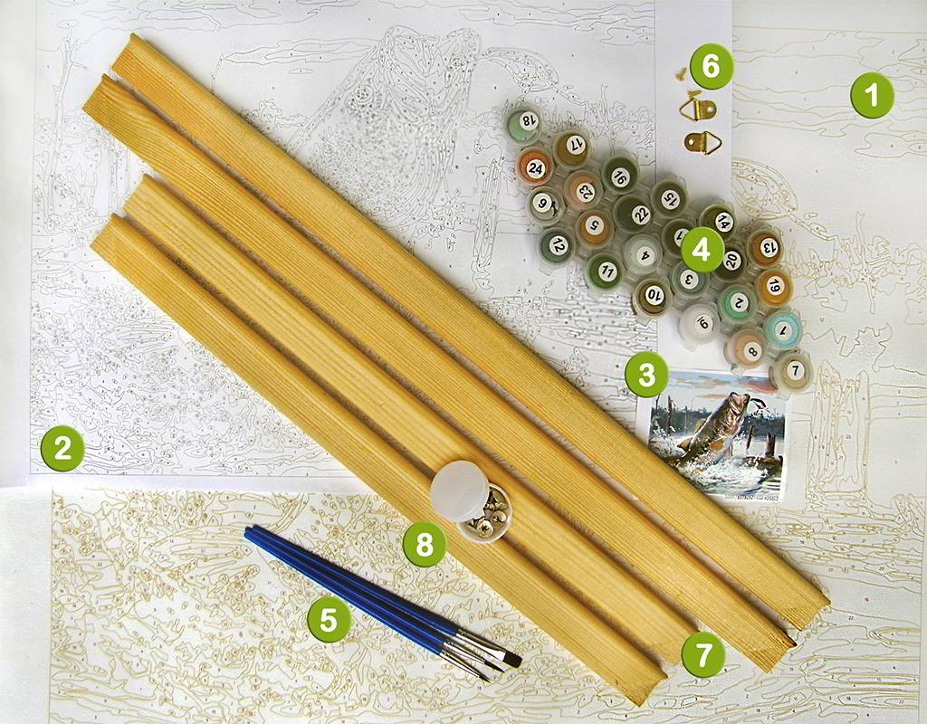 What's in include kit DIY painting by numbers
