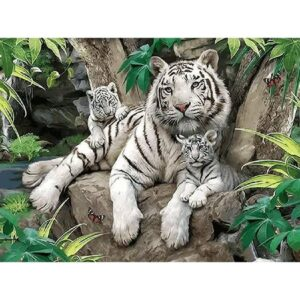 White Tiger Family Drawing by Number