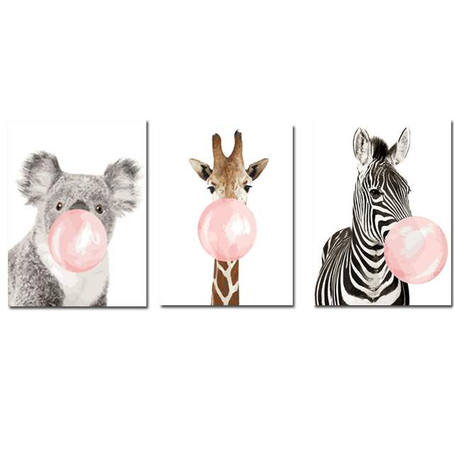 3 pcs Canvas Funny Animals with Pink Bubble Gum DIY Painting By Number Kits