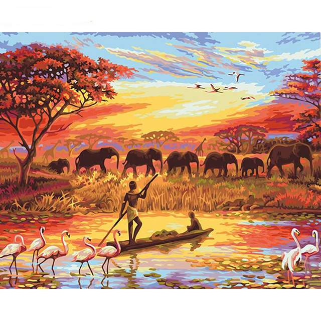 Africa is Magical Continent DIY Oil Painting by Numbers Kit