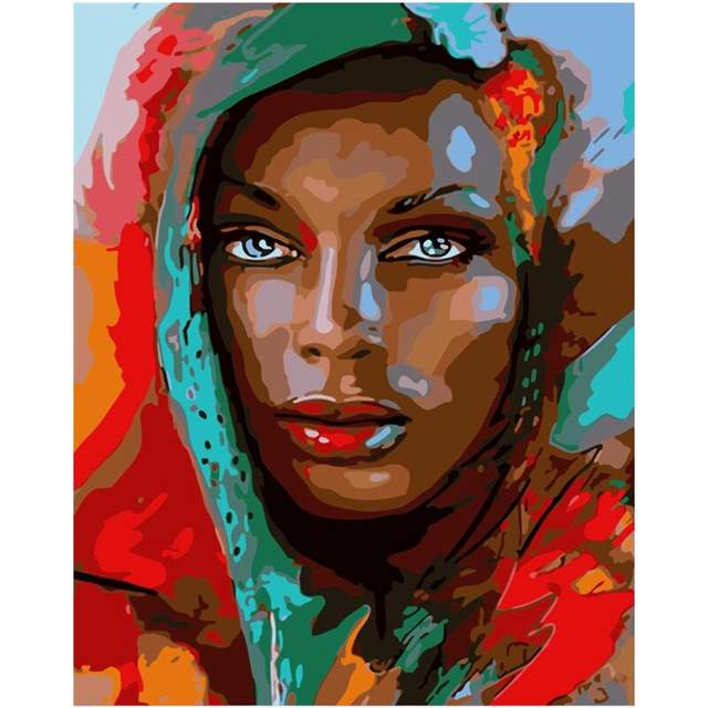 African American Lady in a Headscarf - Canvas by Numbers Kit
