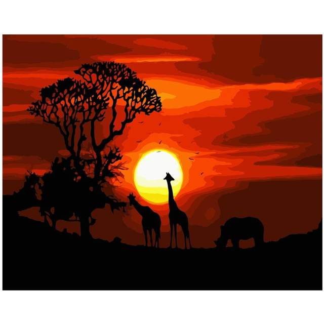 African Savannah at Sunset - Oil Canvas by Numbers Kit