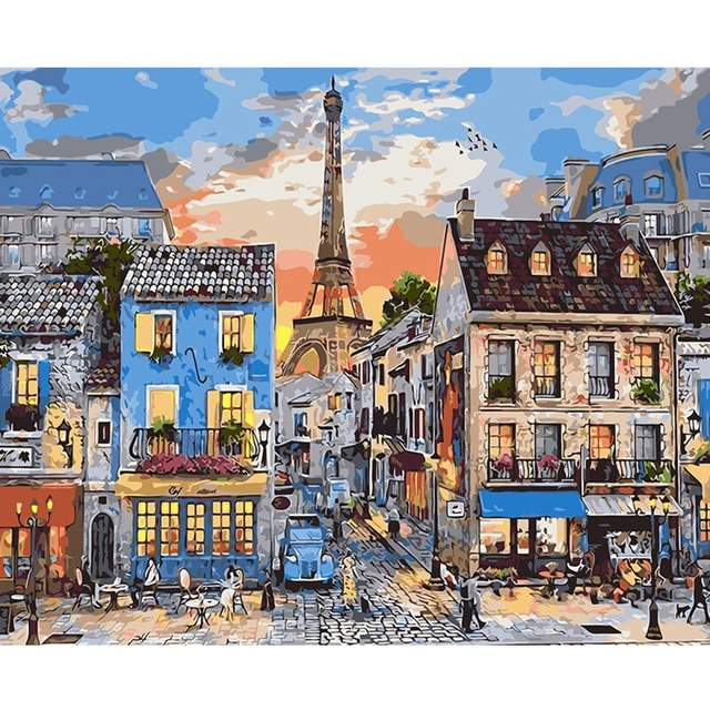 An Evening in Paris - DIY Coloring by Numbers