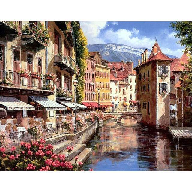Annecy Embankment - DIY Painting by Numbers Kit