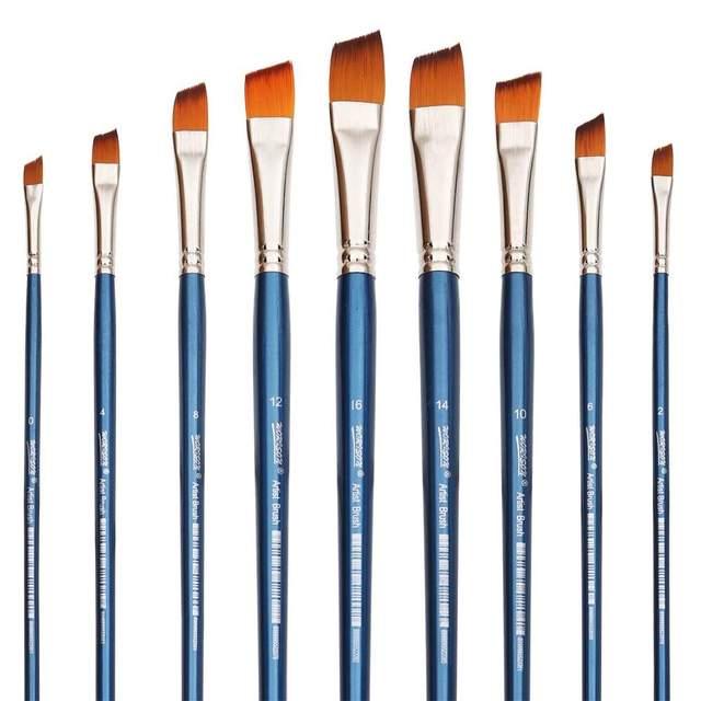 Art Paint Brushes with Beveled Tip Set