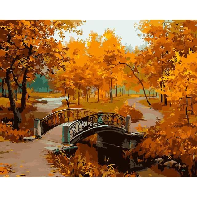Autumn City Park DIY Digital Oil Paint By Number Kit