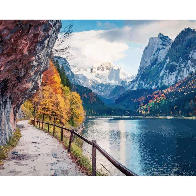 Autumn Gosauseen Lake in Alps - Oil Paint by Numbers Kit
