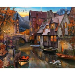 Autumn Leaf Fall in Bruges - DIY Canvas by Numbers for Adults