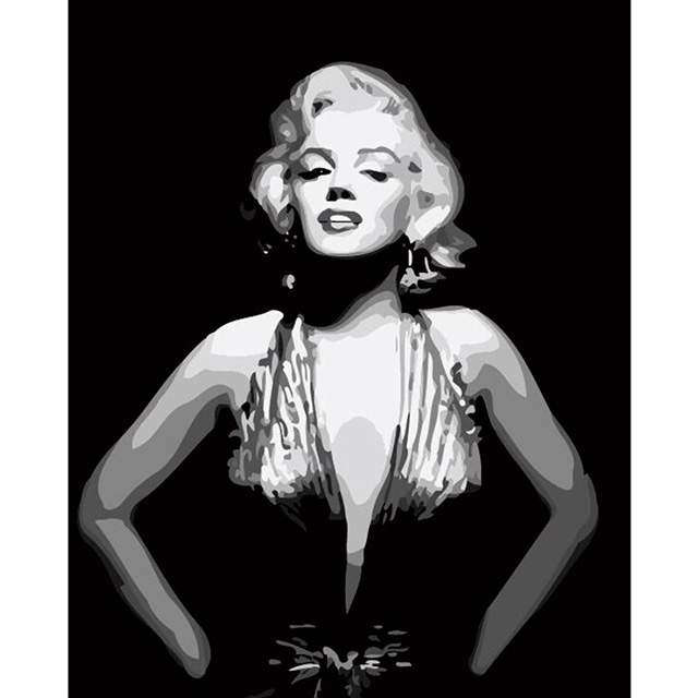 Black and White Portrait of Marilyn Monroe - Acrylic Paint by Numbers Kit