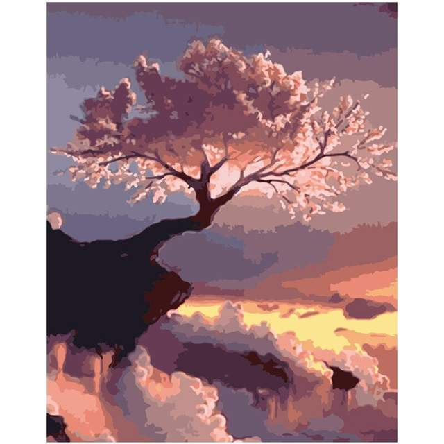 Blooming Pink Tree over Abyss - Acrylic Paint by Numbers Kit