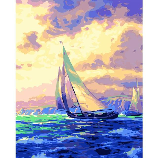 Blue Boat in the Ocean - DIY Painting by Numbers Kit for Adults