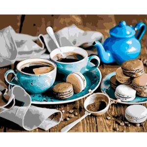 Blue Coffee Couple - DIY Paint By Number Kit