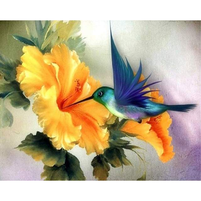 Blue Hummingbird DIY Oil Paint by Numbers Kits for Adults