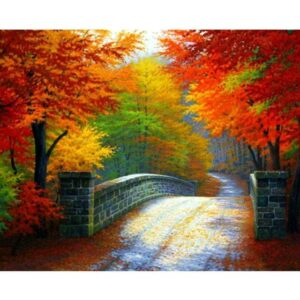 Bridge in Autumn Forest - Oil Painting by Numbers Kits
