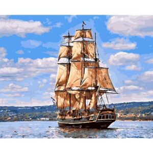 Brigantine Ship in Silent Harbor - Draw by Numbers Kits for Adults