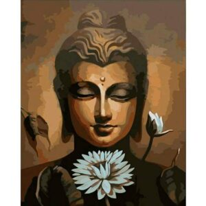 Buddha with a White Lotus Flower - DIY Canvas by Numbers Kit