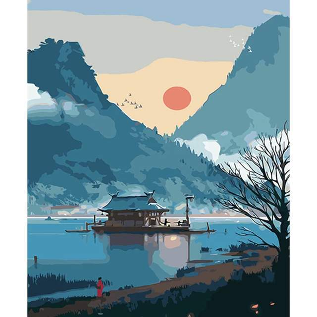 Chinese Mountain Landscape - DIY Painting by Numbers