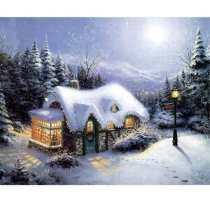 Christmas in Mountains DIY Oil Paint by Numbers Sets for Kids