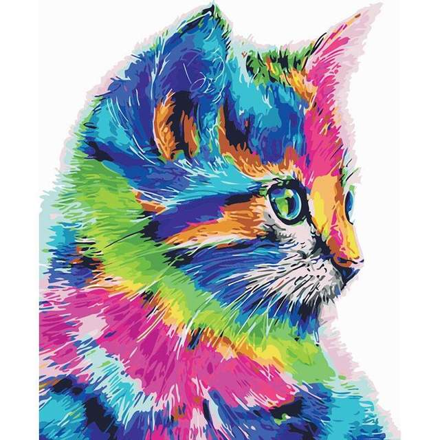 Colored Kitty - DIY Color by Numbers Kit