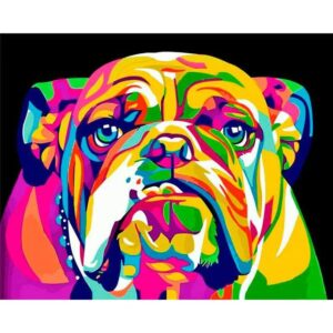 Colorful Bulldog DIY Easy Painting By Numbers Kit