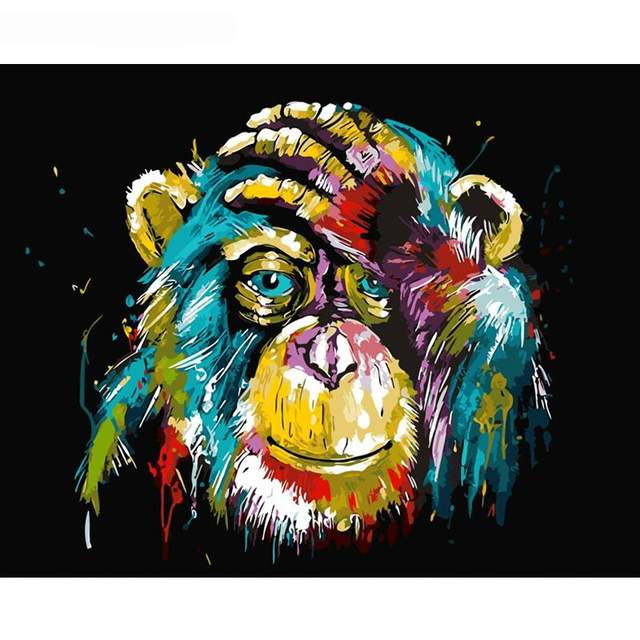 Animal Colorful Chimp DIY Painting By Numbers Kits Adults