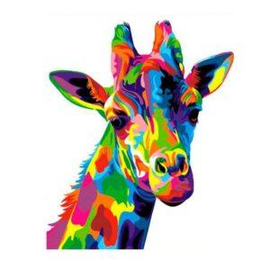 Colorful Giraffe DIY Easy Oil Paint By Number Kit for Beginner