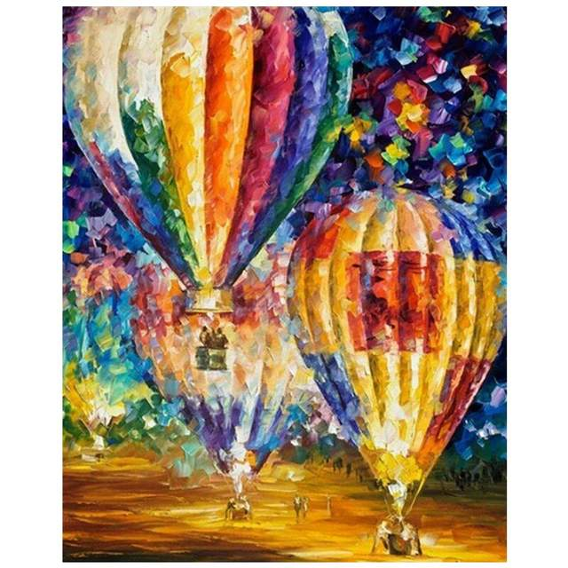 Colorful Hot Air Balloons - Oil Coloring by Numbers Kit