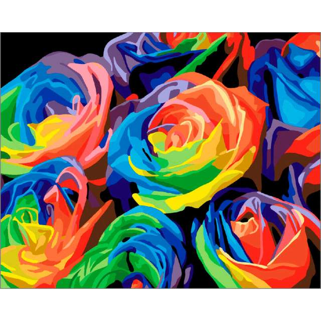 Colorful Roses DIY Oil Paint By Numbers Kit for Adults