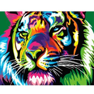 Colorful Tiger - DIY Easy Oil Paint By Number kit for Beginner