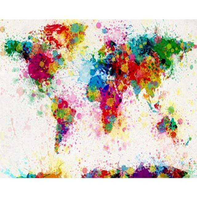 Colorful World Map - DIY Drawing by Numbers Kits