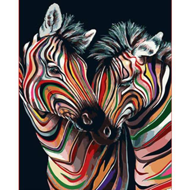 Colorful Zebras - DIY Paint By Numbers Kit