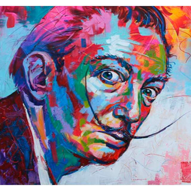 Colorful portrait of Salvador Dali - DIY Paint by Numbers Kit