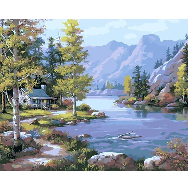 Cottage in Mountains - DIY Paint by Numbers Kit