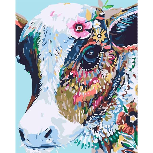 Cow with the Flowers - DIY Acrylic Painting by Numbers Kit